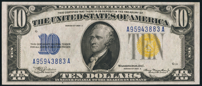 1934A $10 Yellow Seal Seal WW2 Value – How much is 1934A $10 Bill Worth?