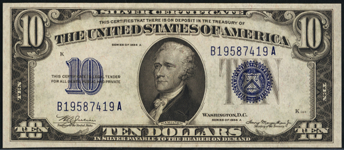 1934A $10 Silver Certificate Value – How much is 1934A $10 Bill Worth?
