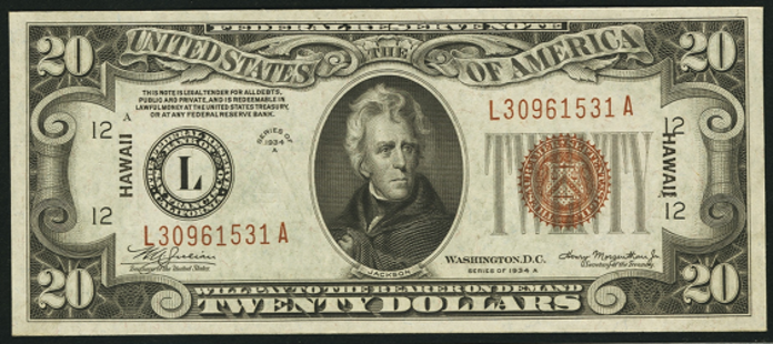 1934A $20 Brown Seal Seal WW2 Value – How much is 1934A $20 Bill Worth?