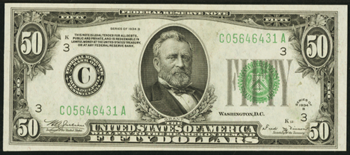 1934B $50 Federal Reserve Note Value – How much is 1934B $50 Bill Worth?