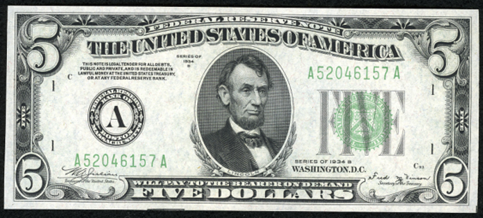 1934B $5 Federal Reserve Note Value – How much is 1934B $5 Bill Worth?