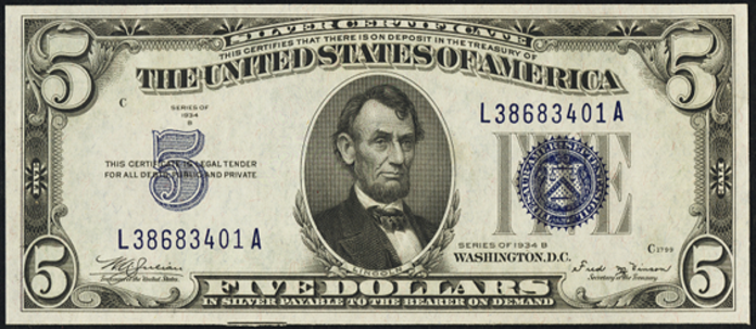 1934B $5 Silver Certificate Value – How much is 1934B $5 Bill Worth?