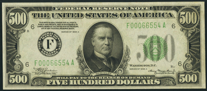 1934B $500 Federal Reserve Note Value – How much is 1934B $500 Bill Worth?