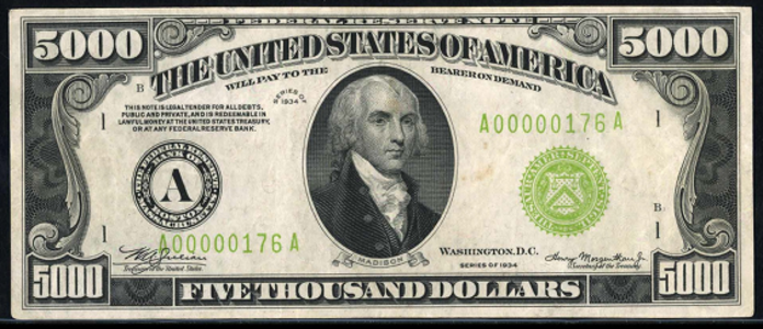 1934B $5000 Federal Reserve Note Value – How much is 1934B $5000 Bill Worth?