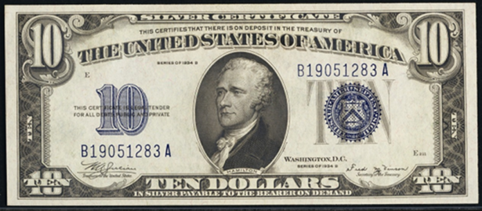 1934B $10 Silver Certificate Value – How much is 1934B $10 Bill Worth?