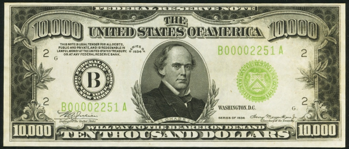 1934B $10000 Federal Reserve Note Value – How much is 1934B $10000 Bill Worth?
