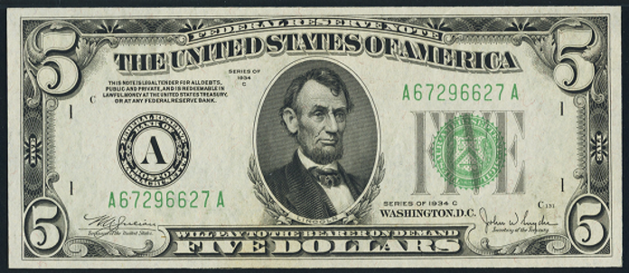1934C $5 Federal Reserve Note Value – How much is 1934C $5 Bill Worth?