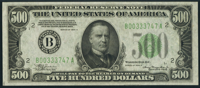 1934C $500 Federal Reserve Note Value – How much is 1934C $500 Bill Worth?