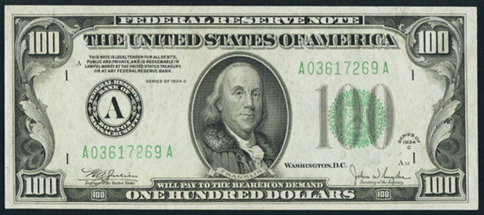 1934C $100 Federal Reserve Note Value – How much is 1934C $100 Bill Worth?