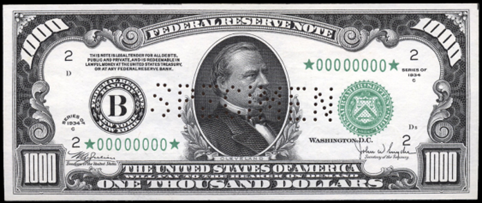 1934C $1000 Federal Reserve Note Value – How much is 1934C $1000 Bill Worth?