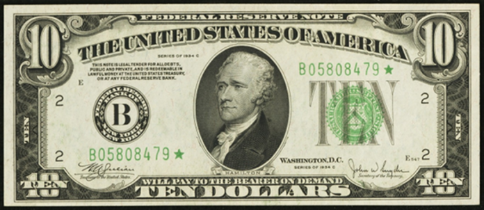 1934C $10 Federal Reserve Note Value – How much is 1934C $10 Bill Worth?