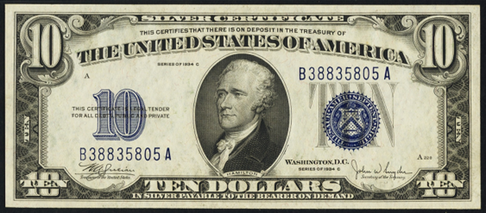 1934C $10 Silver Certificate Value – How much is 1934C $10 Bill Worth?