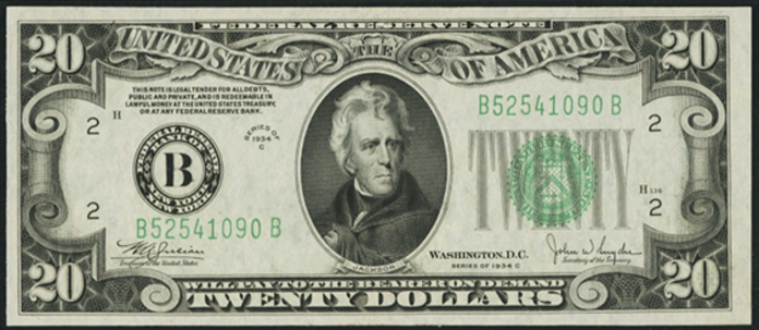 1934C $20 Federal Reserve Note Value – How much is 1934C $20 Bill Worth?
