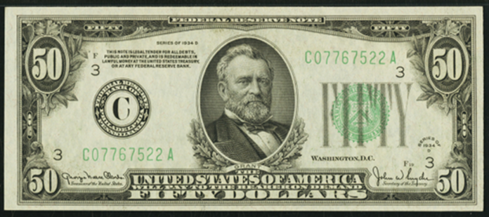 1934D $50 Federal Reserve Note Value – How much is 1934D $50 Bill Worth?