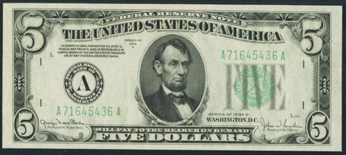 1934D $5 Federal Reserve Note Value – How much is 1934D $5 Bill Worth?