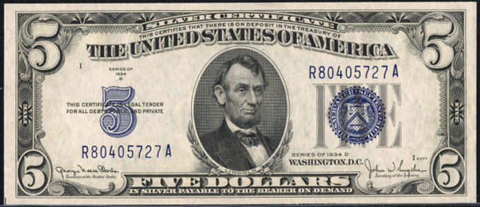 1934D $5 Silver Certificate Value – How much is 1934D $5 Bill Worth?