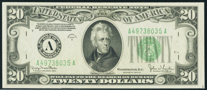 1934D $20 Federal Reserve Note Value – How much is 1934D $20 Bill Worth?