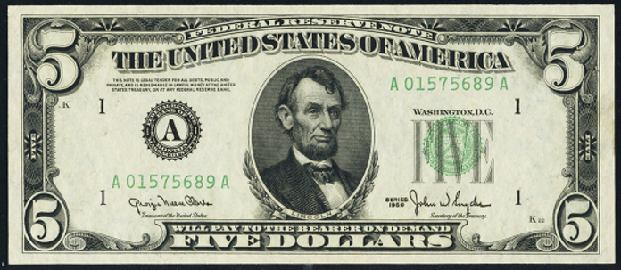 1950A $5 Federal Reserve Note Value – How much is 1950A $5 Bill Worth?