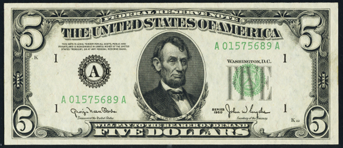 1950B $5 Federal Reserve Note Value – How much is 1950B $5 Bill Worth?