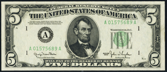 1950C $5 Federal Reserve Note Value – How much is 1950C $5 Bill Worth?