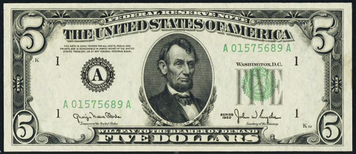 1950D $5 Federal Reserve Note Value – How much is 1950D $5 Bill Worth?