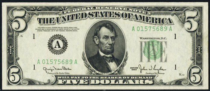 1950E $5 Federal Reserve Note Value – How much is 1950E $5 Bill Worth?