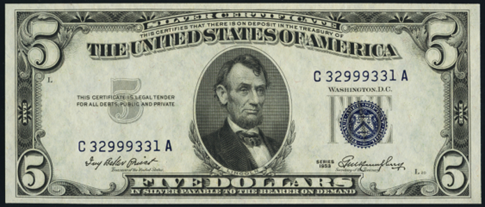 1953 $5 Silver Certificate Value – How much is 1953 $5 Bill Worth?