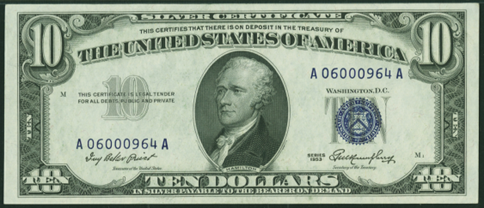1953 $10 Silver Certificate Value – How much is 1953 $10 Bill Worth?