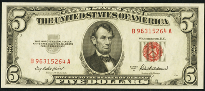 1953A $5 Legal Tender Value – How much is 1953A $5 Bill Worth?