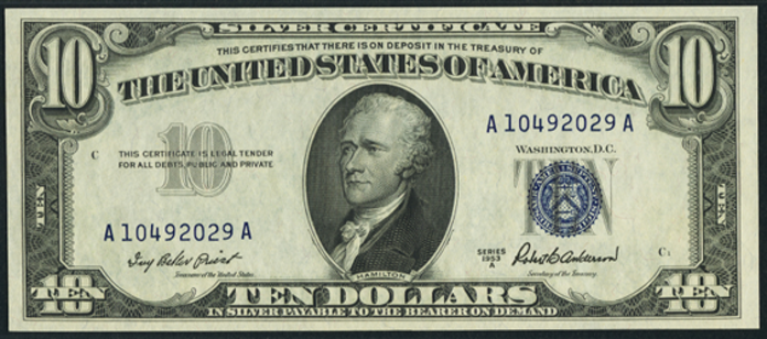 1953A $10 Silver Certificate Value – How much is 1953A $10 Bill Worth?
