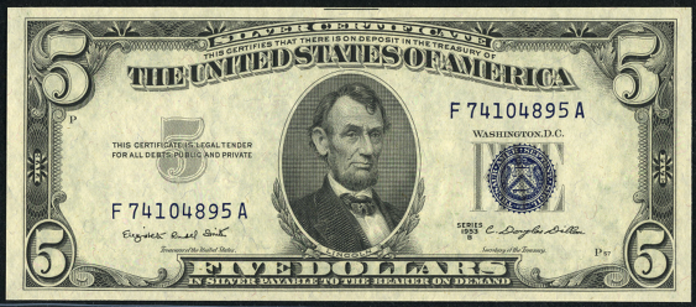 1953B $5 Silver Certificate Value – How much is 1953B $5 Bill Worth?