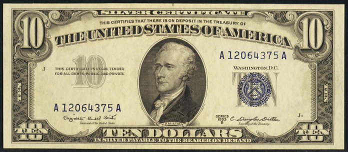 1953B $10 Silver Certificate Value – How much is 1953B $10 Bill Worth?