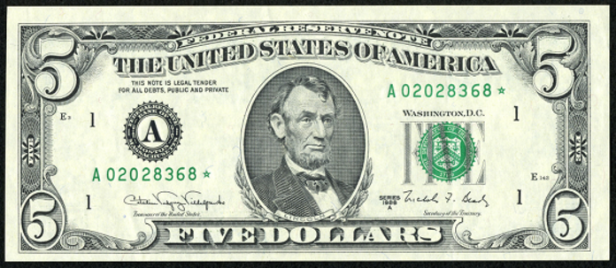 1993 $5 Federal Reserve Note Value – How much is 1993 $5 Bill Worth?