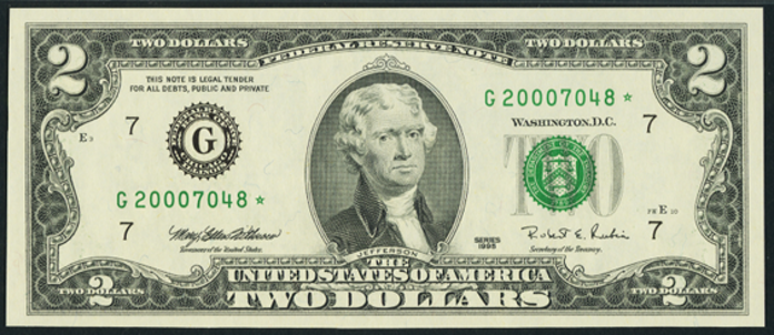 1995 $2 Federal Reserve Note Value – How much is 1995 $2 Bill Worth?