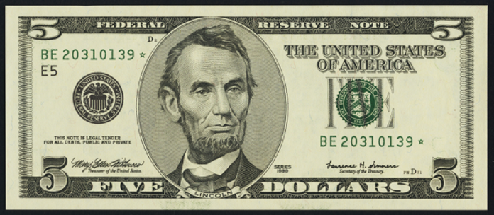 1999 $5 Federal Reserve Note Value – How much is 1999 $5 Bill Worth?
